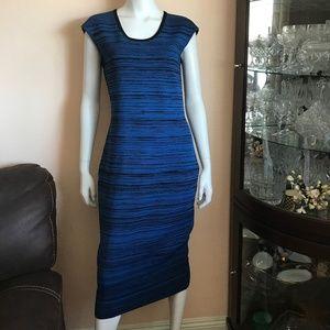 Diane Von Furstenburg Blue Black Print Midi Dress